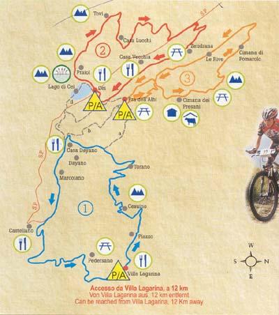 Mappa itinerario bike Cei